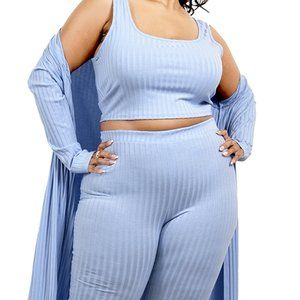 White Solid Knitted 3 Piece Legging Set PLUS SIZE